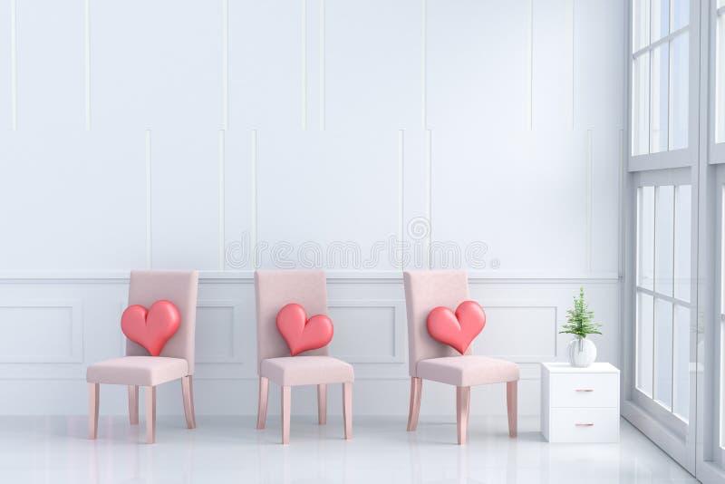 Rode harten op oranje-roze stoel in de ruimte van liefde op de Dag van Valentine ` s stock illustratie