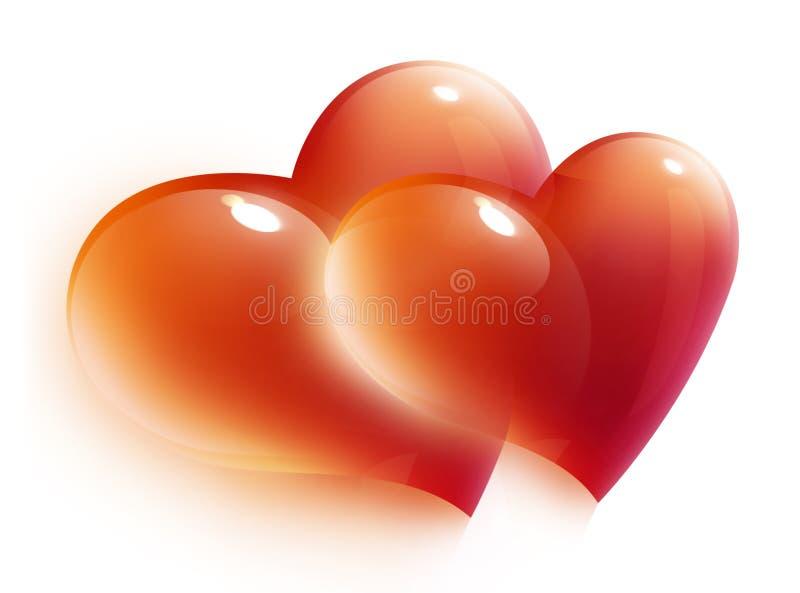 Rode hartenkaart voor de dag van de valentijnskaart stock illustratie