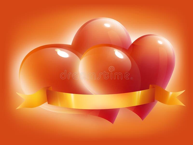 Rode hartenkaart voor de dag van de valentijnskaart royalty-vrije illustratie