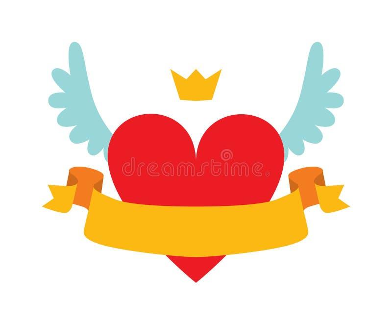 Rode hartsamenvatting met kroon, vleugels en geel lint voor uw tekst vlakke vectorillustratie vector illustratie