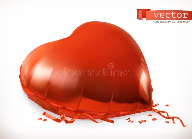 Rode hartstuk speelgoed ballon Het pictogram van toestellen royalty-vrije illustratie