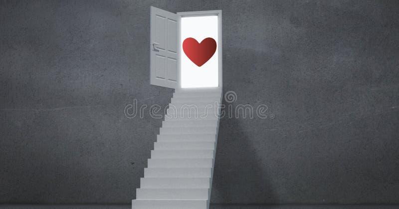 Rode hartvorm op de deur stock afbeeldingen