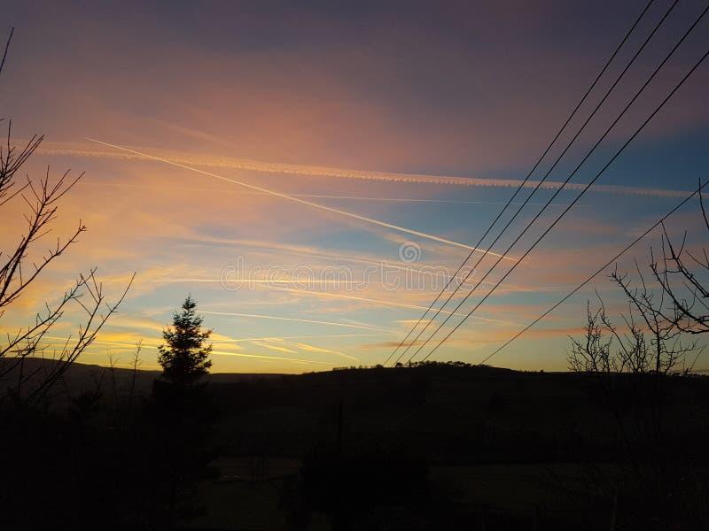 Rode hemel bij de verrukking van nachtherders stock fotografie