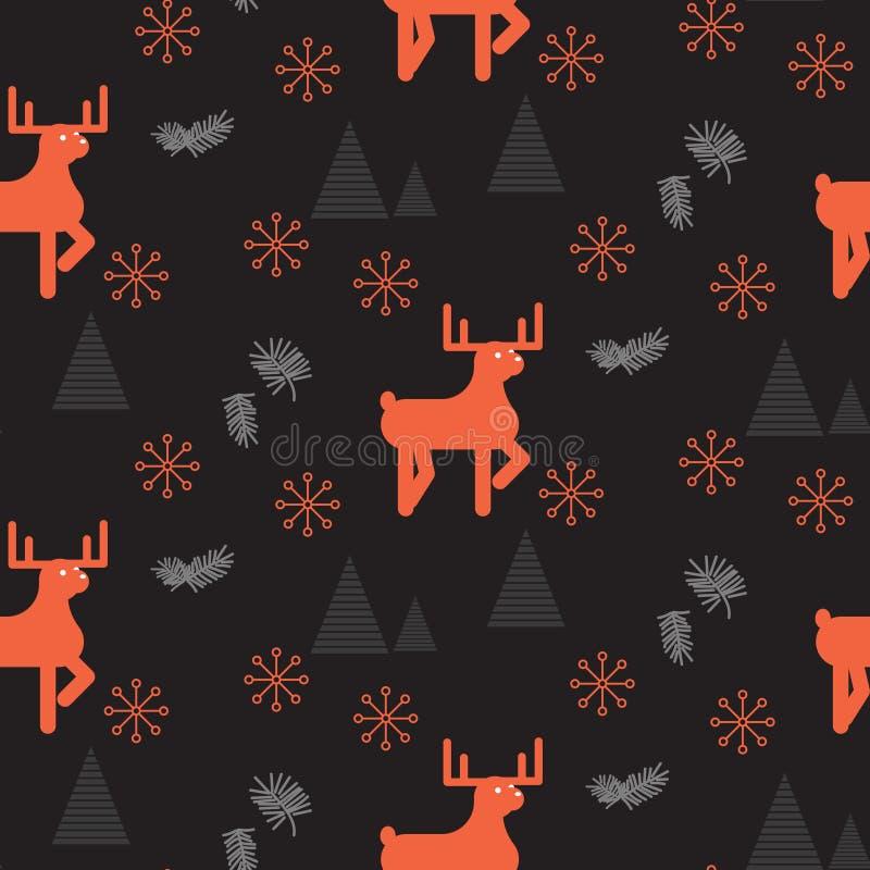 Rode herten in een donker hout naadloos patroon vector illustratie