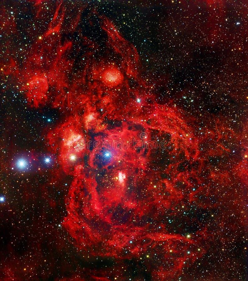 Rode het Beeldelementen van het Zeekreeftnevel Verbeterde Heelal van NASA/ESO | Melkweg Achtergrondbehang stock foto