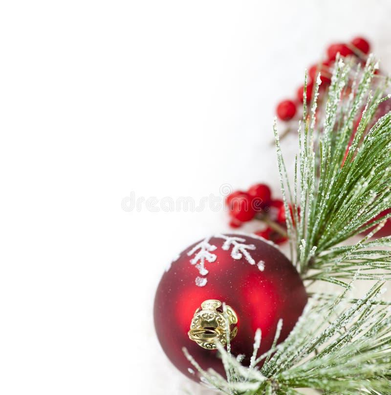 Rode het ornamentgrens van Kerstmis stock afbeeldingen
