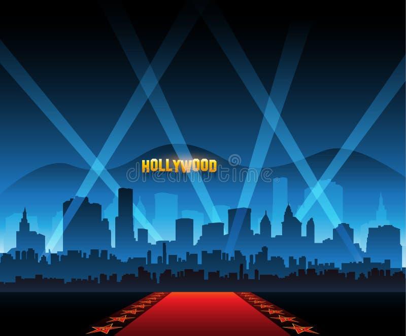 Rode het tapijtachtergrond en stad van de Hollywoodfilm royalty-vrije illustratie