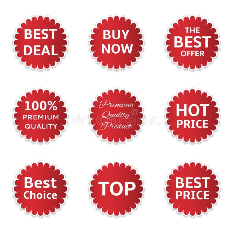 Rode het Winkelen Etiketten stock illustratie