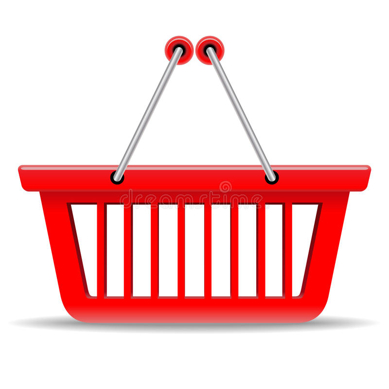 Rode het winkelen mand vector illustratie