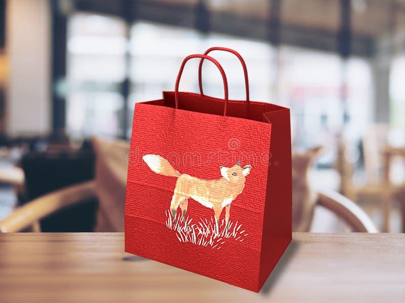 rode het winkelen zak met het verfraaien van fox3d stock afbeelding