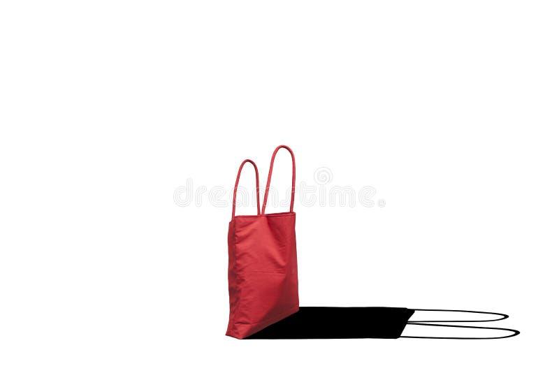 Rode het winkelen zak op witte achtergrond stock illustratie