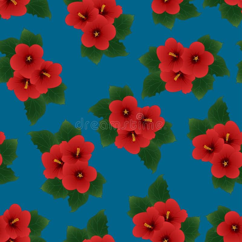 Rode Hibiscussyriacus - nam van Sharon op Indigo Blauwe Achtergrond toe Vector illustratie stock illustratie