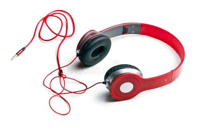 Rode hoofdtelefoons royalty-vrije stock afbeeldingen