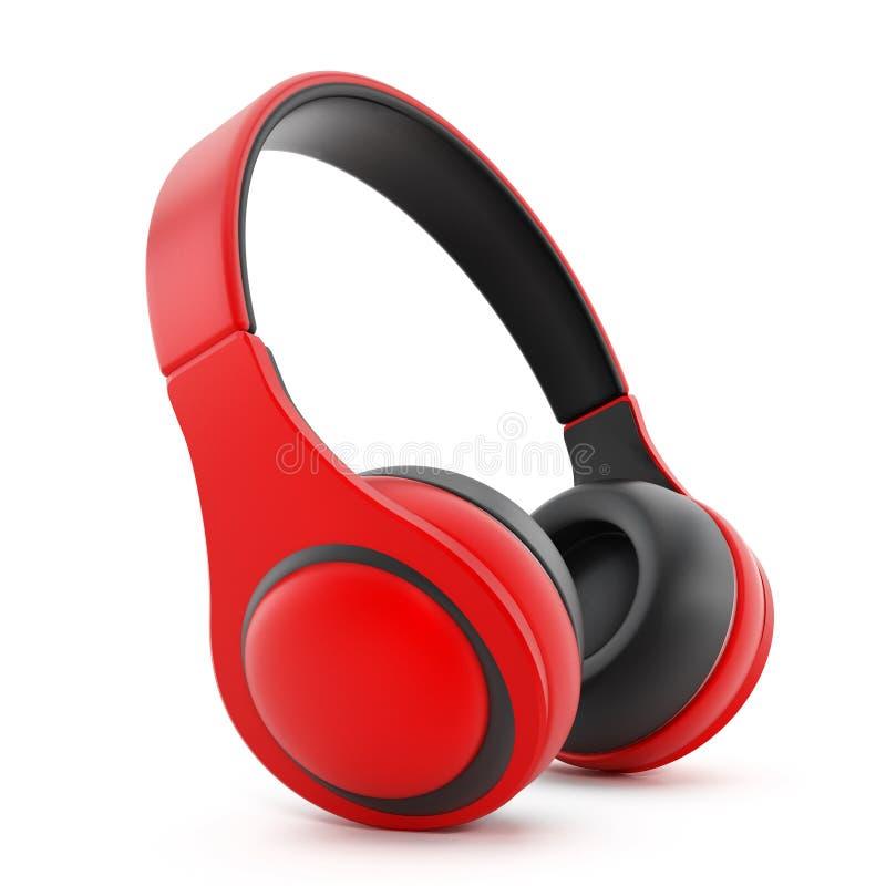 Rode hoofdtelefoons stock afbeelding