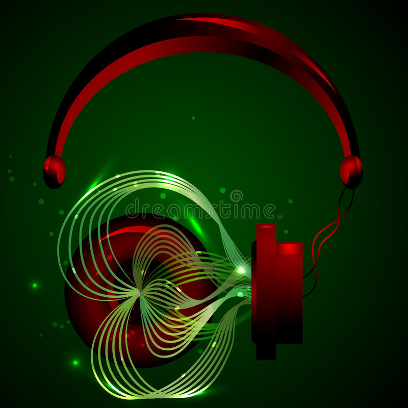 Rode hoofdtelefoons met muziek stock afbeelding