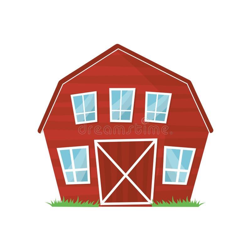 Rode houten landbouwbedrijfschuur met grote vensters voor het houden van dieren of landbouwmachine De beeldverhaal landelijke bou royalty-vrije illustratie