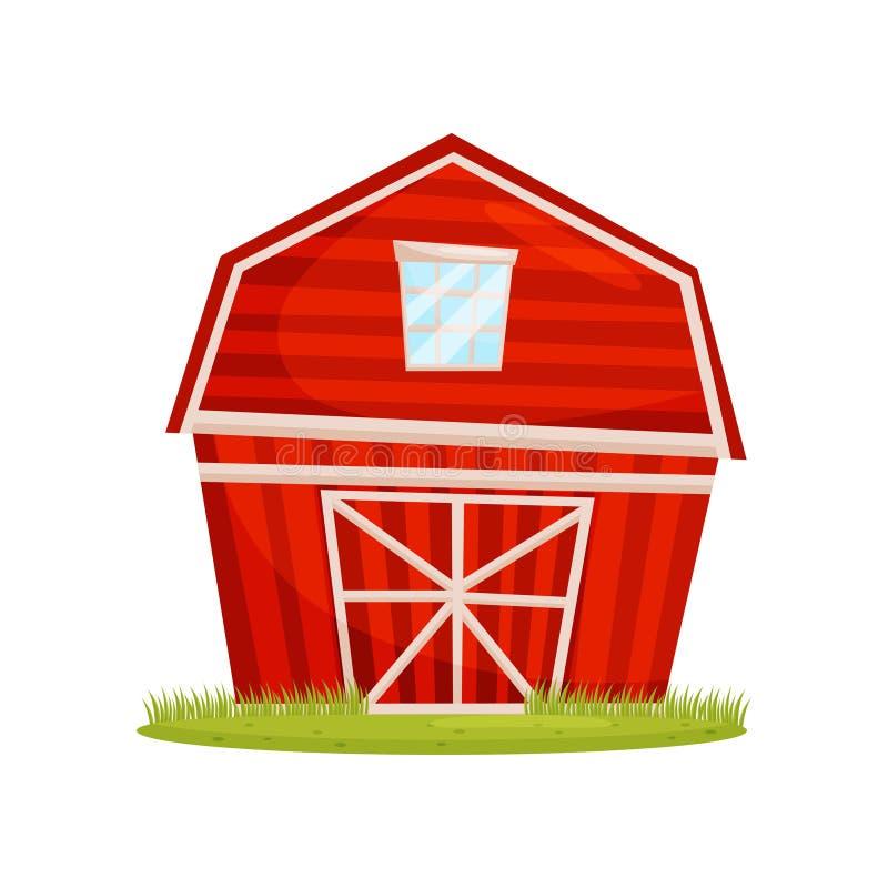 Rode houten schuur en groen gazon De grote landbouwbedrijfbouw Landelijke architectuur Plattelandsthema Beeldverhaal vectorontwer vector illustratie