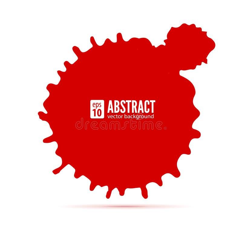 Rode inktvlek abstracte achtergrond Toespraakbel, vector 3D illustratie Grungesymbool voor kaarten, affiche, dekking en royalty-vrije illustratie