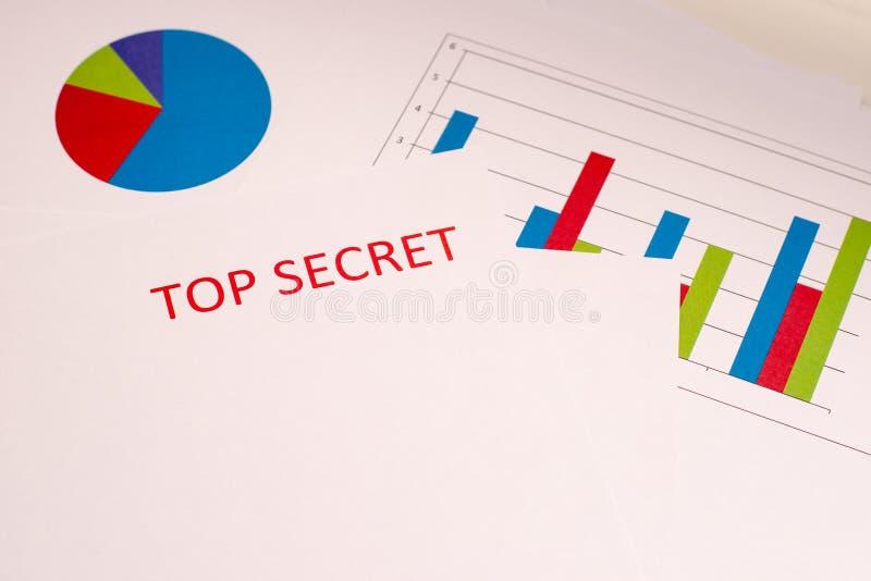 Rode inscriptie TOP SECRET op een wit vel Grafieken en grafieken op wit papier Geheimen en samenzwering Geheime archieven stock fotografie