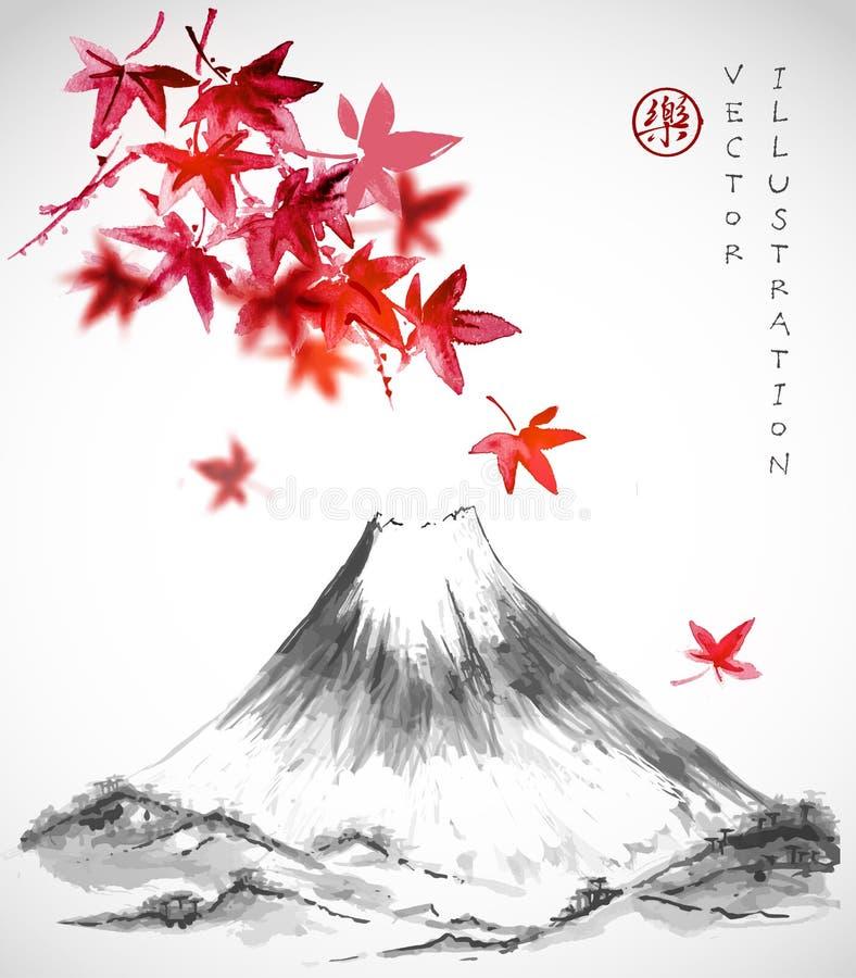 Rode Japanse esdoornbladeren en Fujiyama-berg stock illustratie