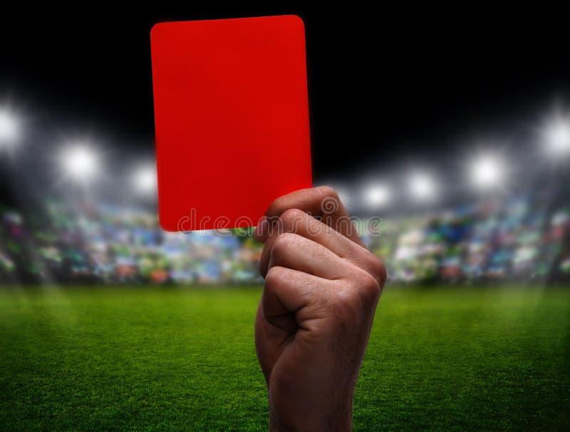 Rode Kaart bij voetbal royalty-vrije stock foto's