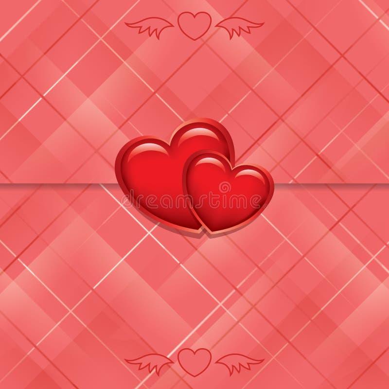 Rode kaart die met harten wordt verzegeld stock illustratie
