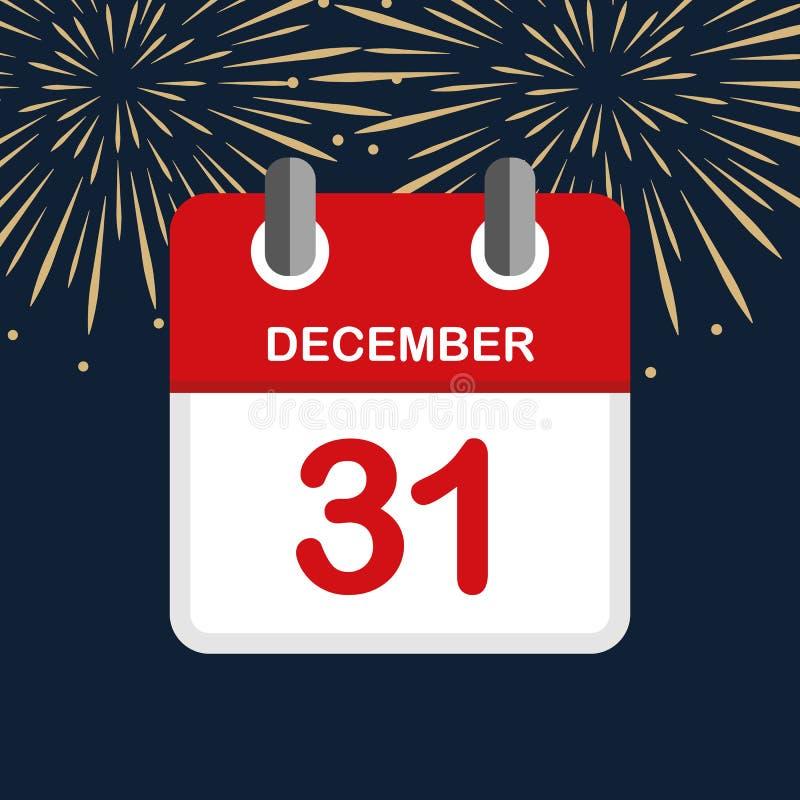 Rode kalender 31 achtergrond van het het jaarvuurwerk van december de nieuwe vector illustratie