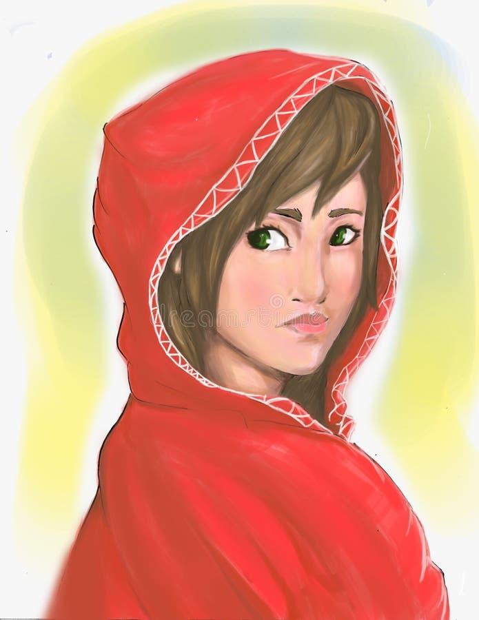 Rode kapmeisje digitale het schilderen illustratie stock foto's