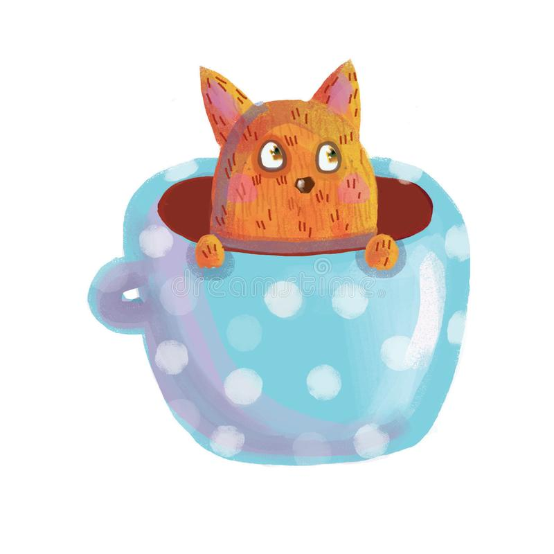 Rode kattenzitting in een blauwe mok stock afbeelding