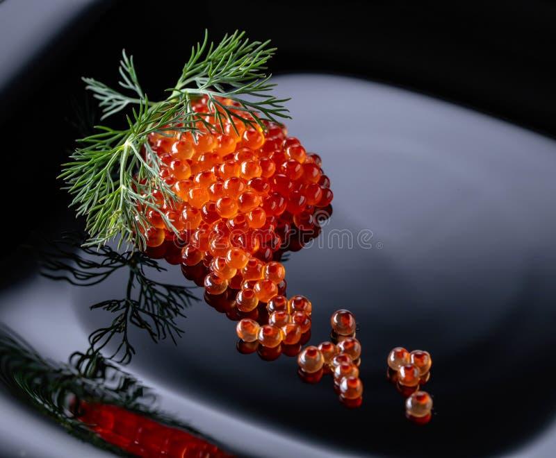 Rode kaviaar met dille stock afbeeldingen