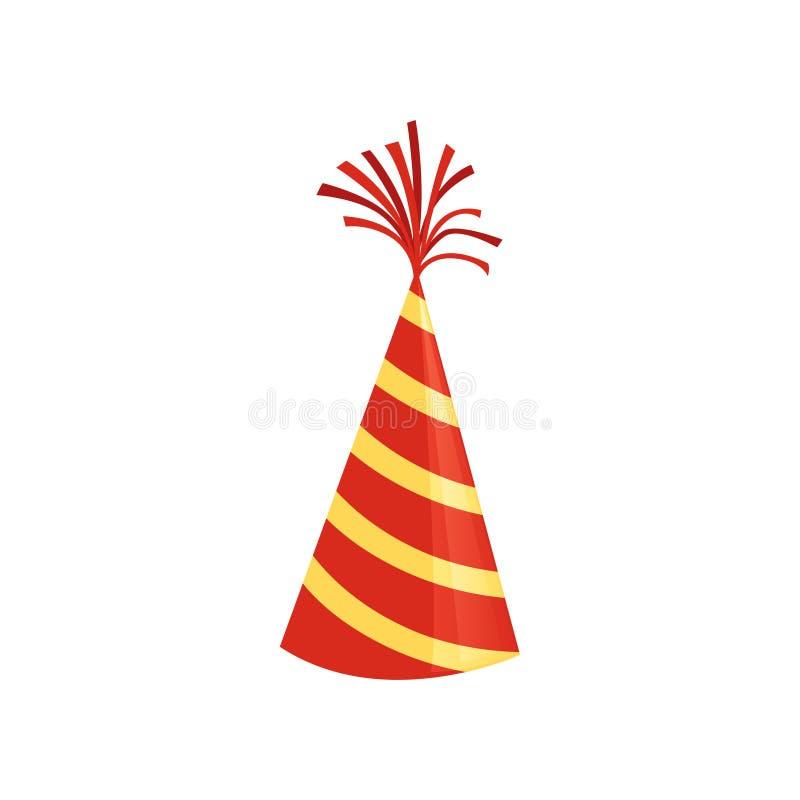Rode kegelhoed met gele strepen Kleurrijke toebehoren voor Verjaardagspartij Helder vectorpictogram in vlakke stijl grafisch royalty-vrije illustratie