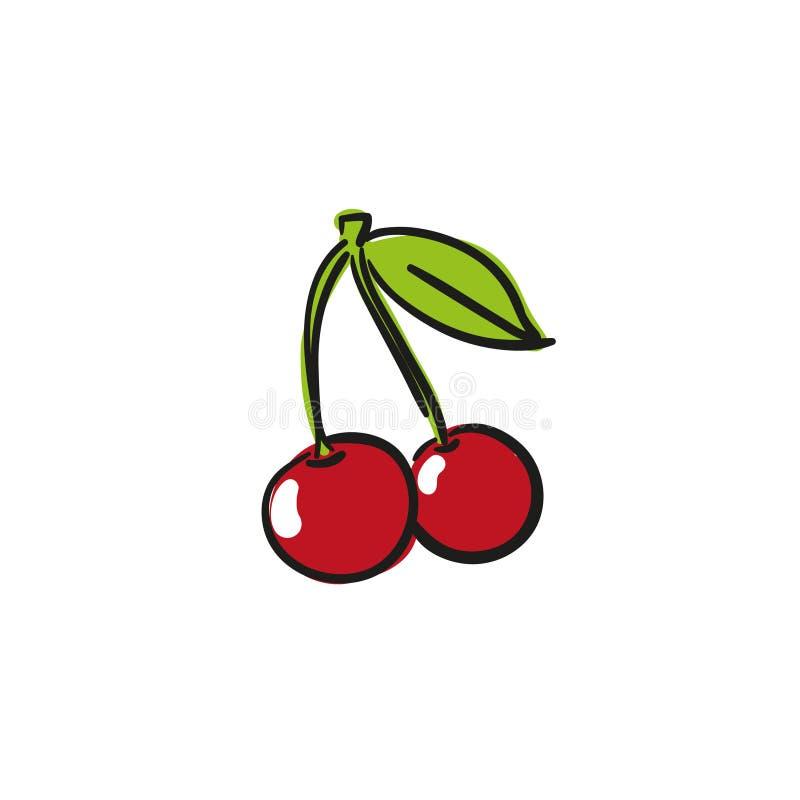 Rode Kersen Vectorhand Getrokken Illustratie stock illustratie