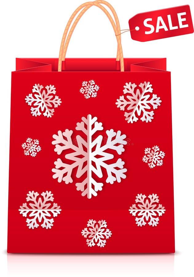 Rode Kerstmis het winkelen zak met document sneeuwvlokken stock illustratie