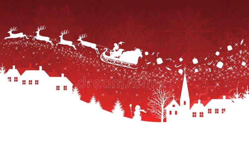 Rode Kerstmisachtergrond. vector illustratie