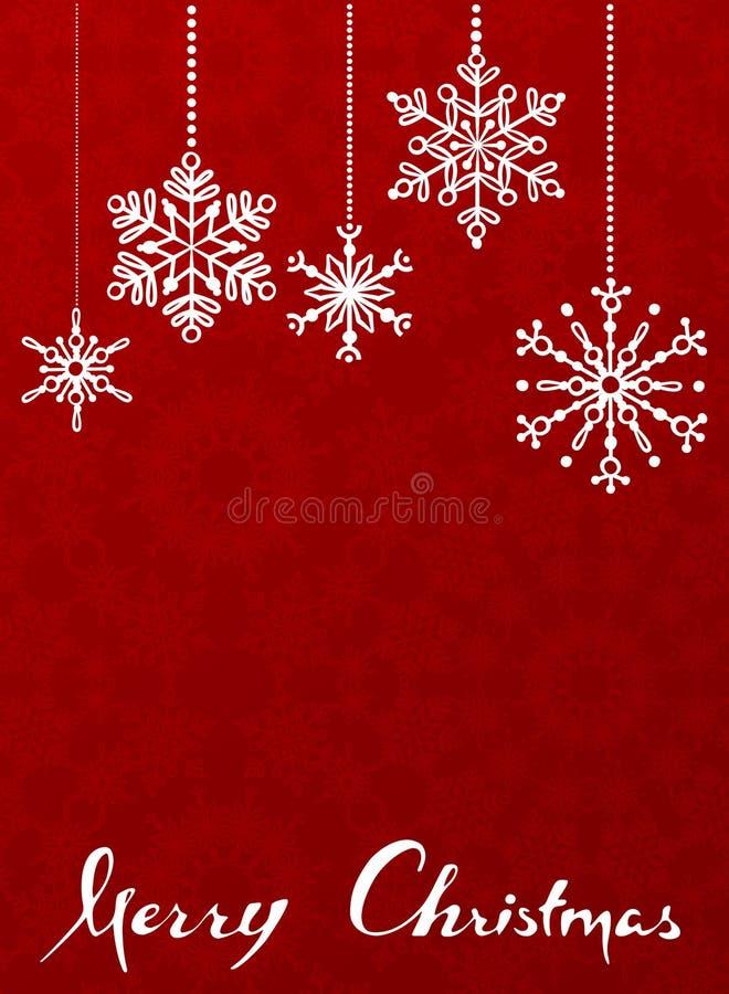 Rode Kerstmisachtergrond met het hangen van sneeuwvlokken. stock foto's