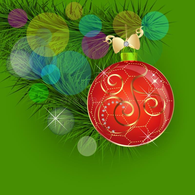 Rode Kerstmisbal, het goud van het Kerstboomlint en de vector van de diamantendecoratie royalty-vrije illustratie