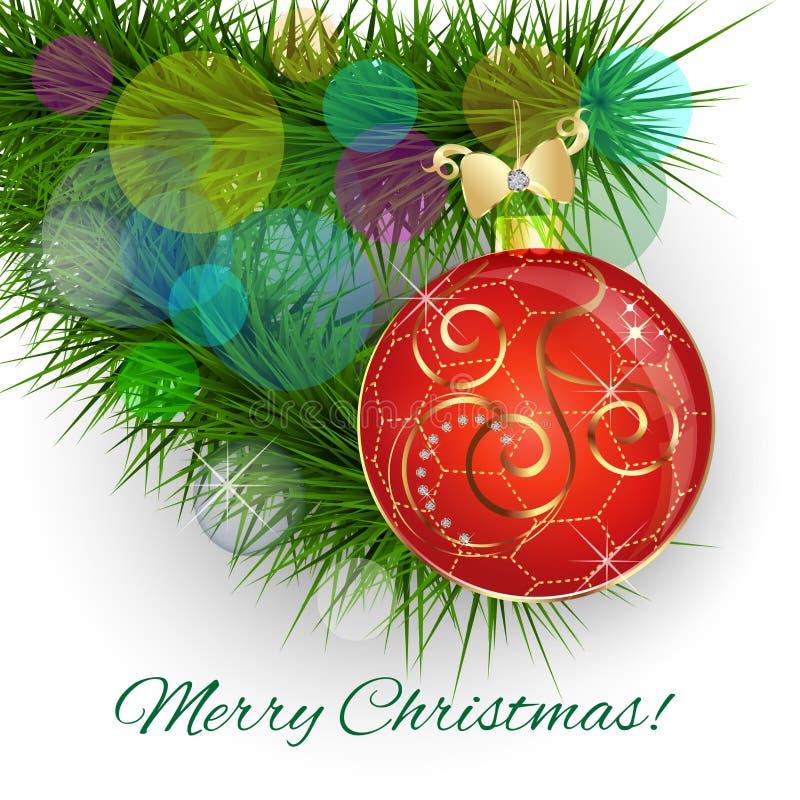 Rode Kerstmisbal, het goud van het Kerstboomlint en de vector van de diamantendecoratie vector illustratie