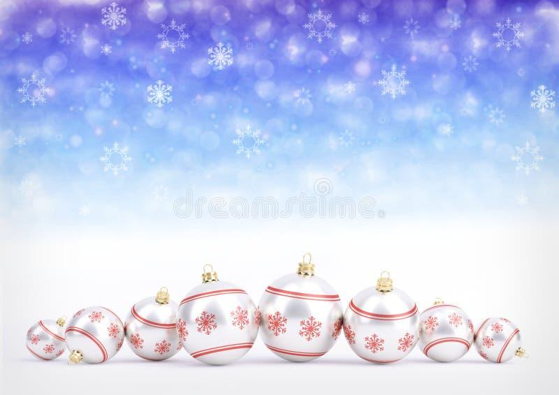Rode Kerstmisballen op bokehachtergrond met sneeuwvlokken 3D Illustratie royalty-vrije illustratie