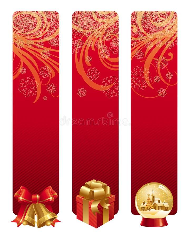 Rode Kerstmisbanners stock illustratie
