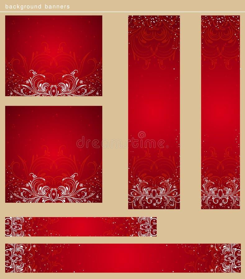 Rode Kerstmisbanners, vector stock illustratie
