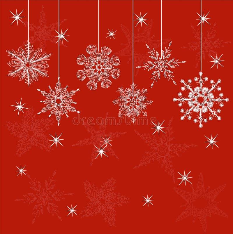 Rode Kerstmiskaart in vector royalty-vrije illustratie