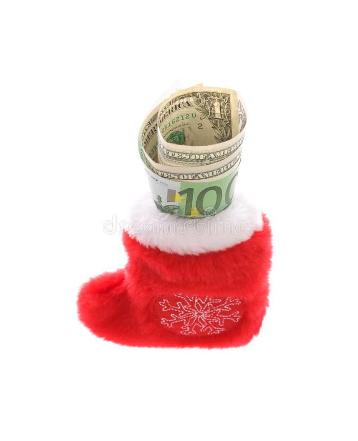 Rode Kerstmissok met euro en dollarcontant geldgeld stock foto