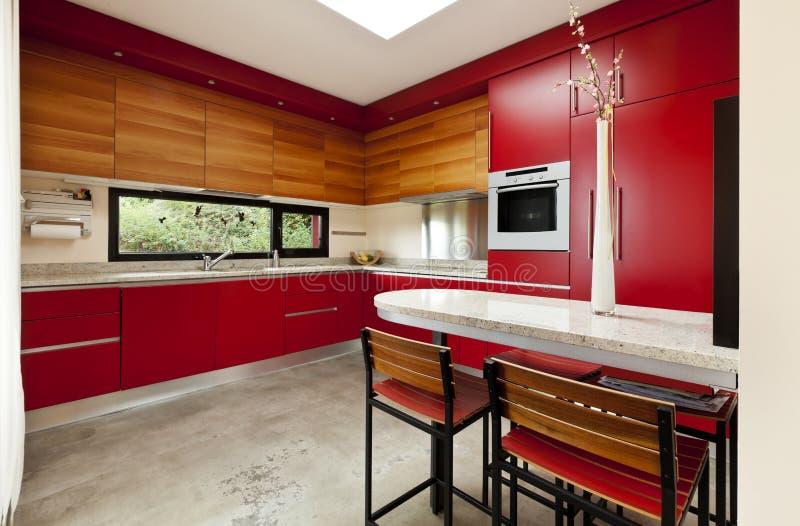 Rode keuken stock afbeeldingen