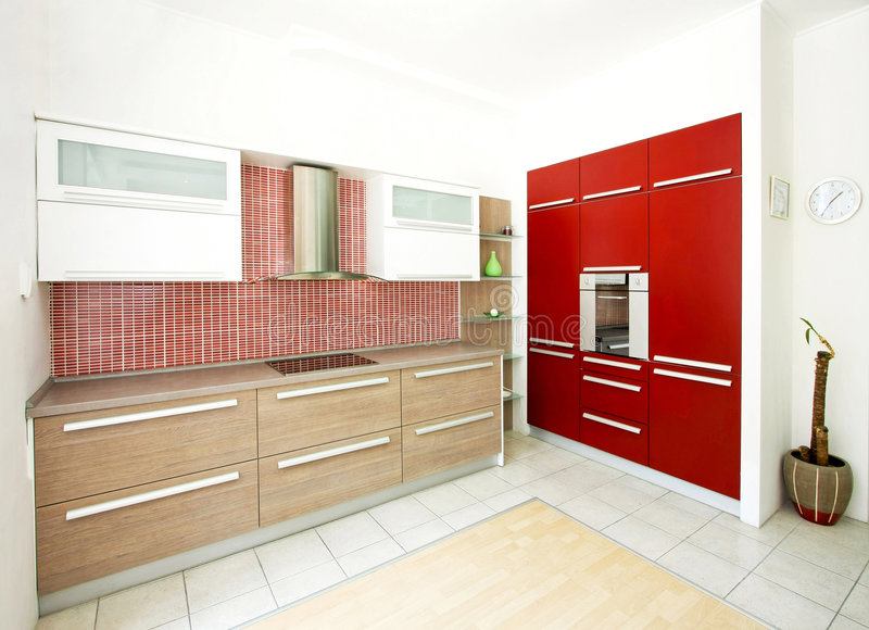 Rode keukenhoek royalty-vrije stock foto's