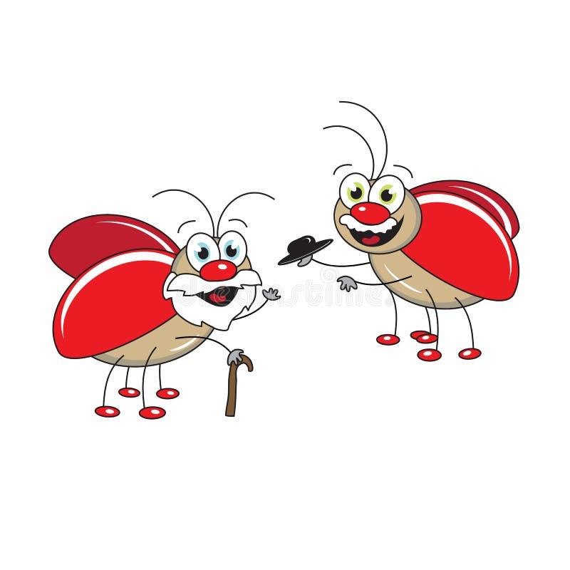Rode kevers Jong en Oud Vector illustratie vector illustratie