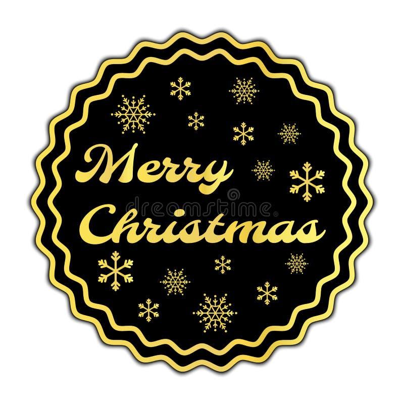 Rode kleur van Vrolijke Kerstmis met sneeuwvlokkenteken stock illustratie