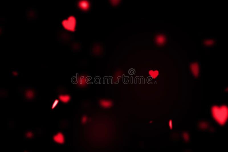 Rode kleurrijke harten die animatie op zwarte achtergrond, liefde en valentijnskaartdag vliegen royalty-vrije stock afbeeldingen