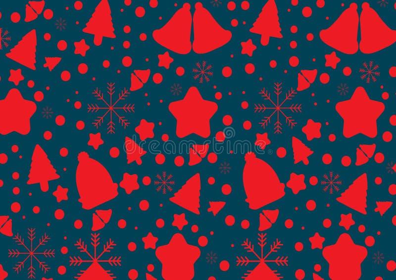 Rode klokken, sneeuwvlok, bomen Vector illustratie Eps 10 royalty-vrije illustratie