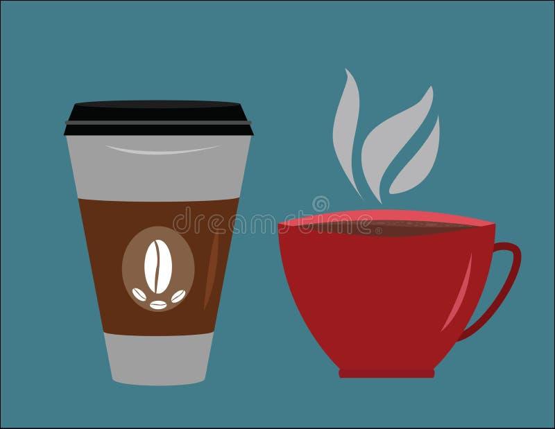 Rode koffiemok en een kop van de verwijderingskoffie stock afbeelding