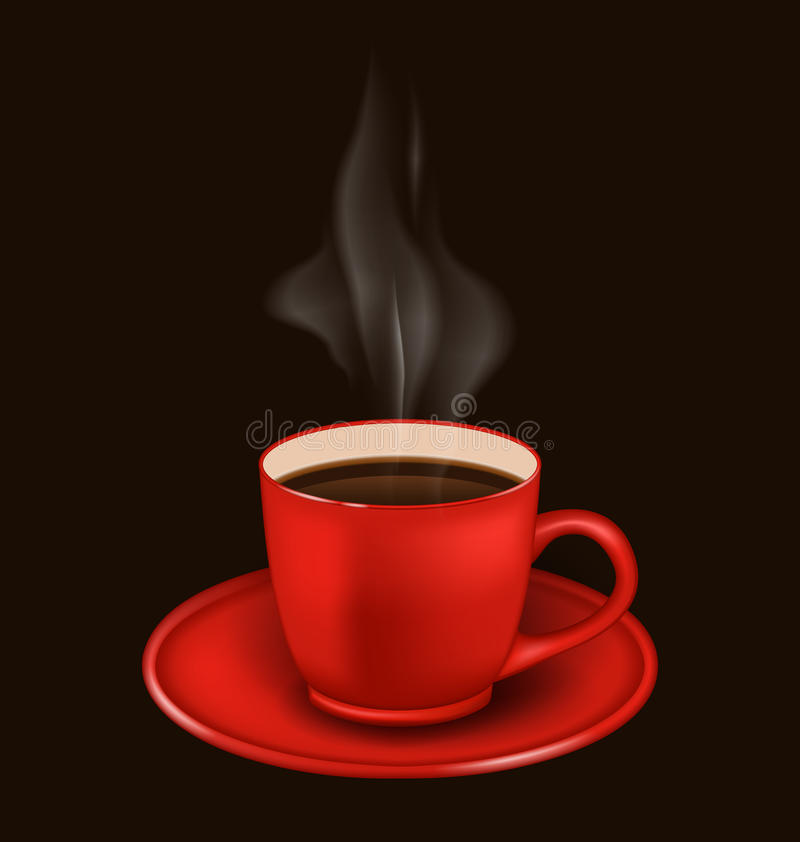 Rode koffiemok met damp royalty-vrije illustratie